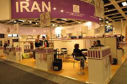 An undated photo depicts Iran's pavilion at the International Tourism Fair (ITB) in Berlin, Germany.