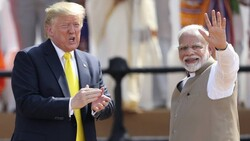 Donald Trump and Narendra Modi in India on Monday. India has signed agreements with the US to enhance military co-operation and intelligence sharing. (Photo: AP)