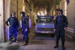 Firefighters disinfect Tabriz Bazaar amid coronavirus anxiety