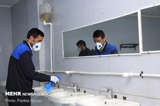Disinfecting public places in Shahrekord