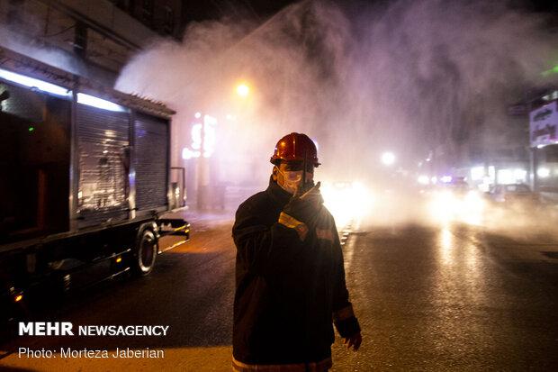 ضدعفونی معابر شهری و اماکن عمومی اهواز