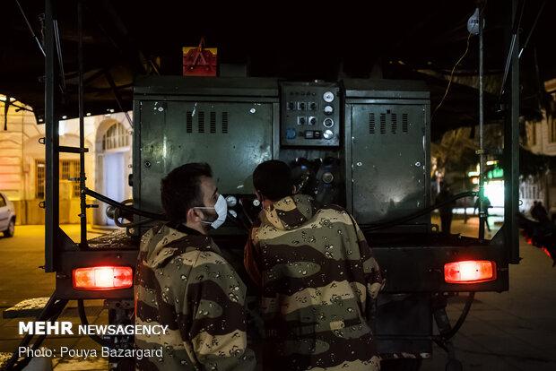 Firefighters, IRGC disinfect public places of Rasht