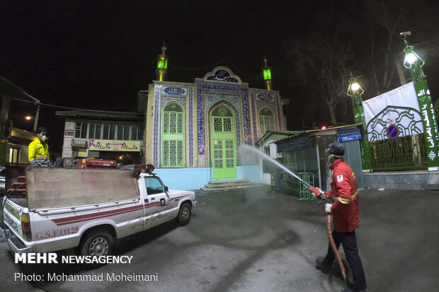 Disinfecting public, religious place in Gorgan