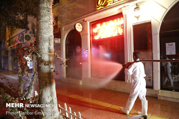 People are cooperating with fire brigade for disinfecting public places in Bandar…