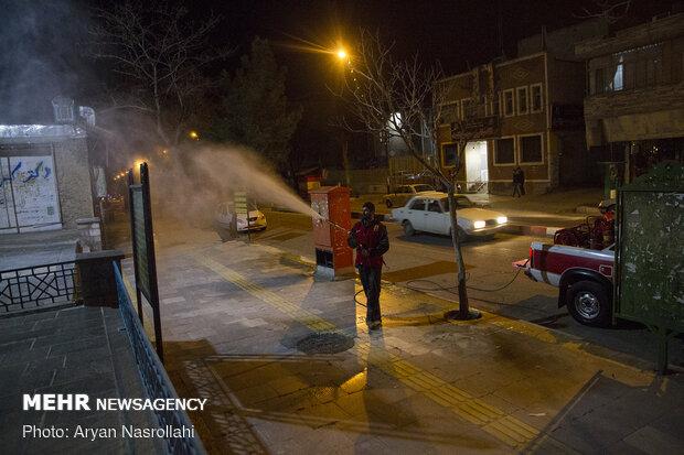 Disinfecting public places in Sanandaj