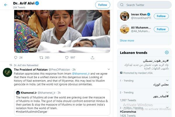 الرئيس الباكستاني: نقدّر مواقف الامام الخامنئي ازاء مسلمي الهند