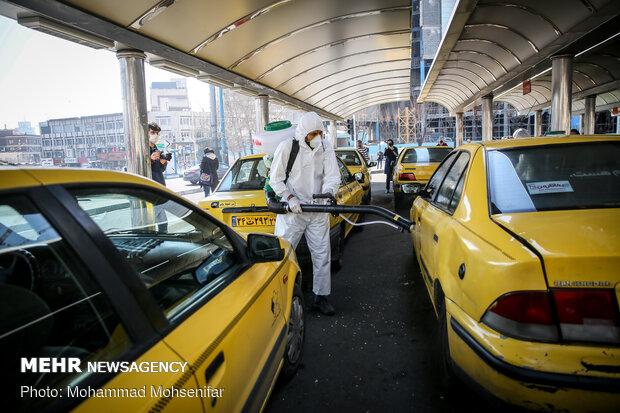 Disinfecting Valiasr St. in Tehran due to coronavirus outbreak