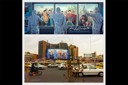 دیوارنگاره میدان ولیعصر هم ضد کرونا شد/ «سلامتی» به ایران میرسد