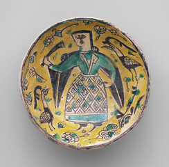 """Bowl with a Figure and Birds""; 10th century CE; excavated from Neyshabur, northeast Iran"