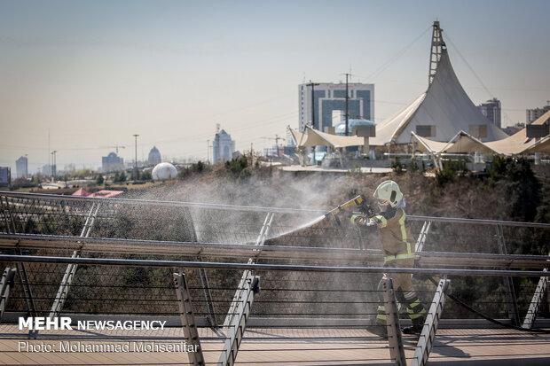Disinfecting Tabiat Bridge in Tehran against COVID-19