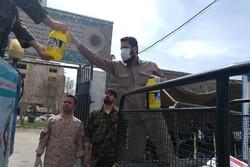 معابر «حصارک» توسط نیروهای بسیج ضدعفونی شد
