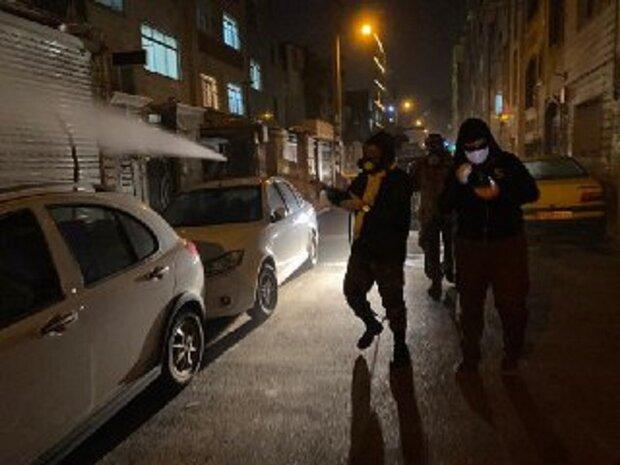 انجام عملیات ضدعفونی معابر زنجان توسط ۴۰ گروه جهادی