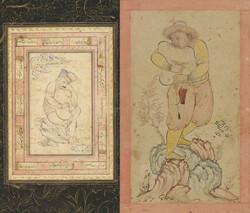 This combination photo shows paintings by Iranian miniaturist Reza Abbasi (1565-1635).