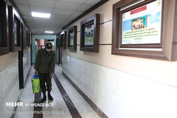 اقدامات پلیس پیشگیری پایتخت در ضد عفونی کلانتری های کشور
