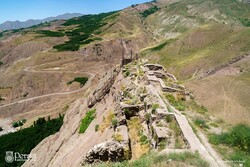 An aerial view of the ruined Alamut Castle, which stands perched on Alborz Mountains, northern Iran.