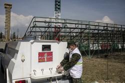 خط تولید ماسک و موادضدعفونی کننده در یگان ویژه ناجا