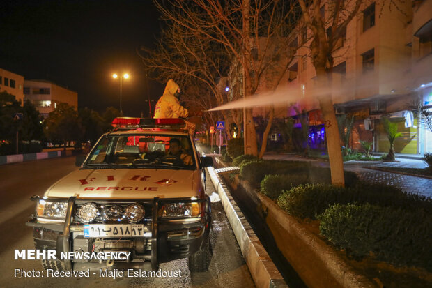 Disinfecting public places in Isfahan against COVID-19