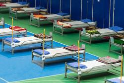 استقرار تخت های ویژه بستری بیماران کرونایی در سالن و فضاهای دیگر بیمارستان اردبیل