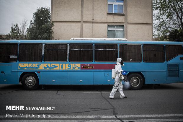 Disinfecting one of Tehran's neighborhoods against COVID-19