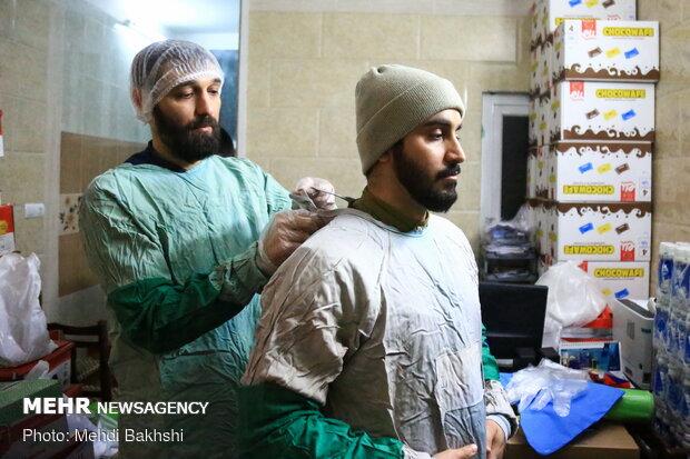 نوروز نیروهای جهادی در کنار کادر پزشکی قم
