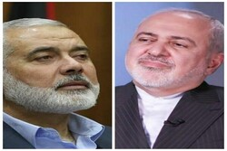 Minister of Foreign Affairs of the Islamic Republic of Iran Mohammad Javad Zarif and Hamas' Political Bureau Chief Ismail Haniyeh
