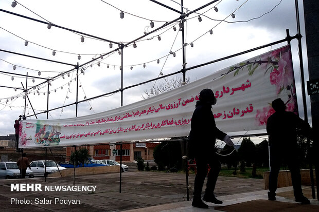 Decorating hospitals in Mianeh to appreciate medical staff