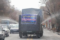 حضور نیروهای یگان ویژه ناجا در طرح ضدعفونی سراسری شهر تبریز