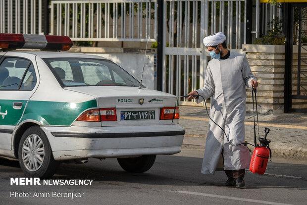 Şiraz kentinde koronavirüs salgınına karşı mücadele