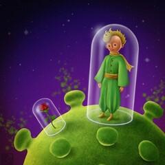 """The Little Prince and Coronavirus"" by Iranian cartoonist Saman Torabi."