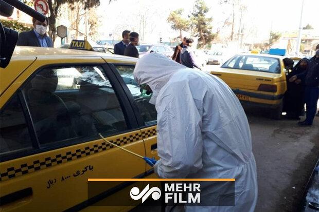 ضدعفونی جالب خودروها در میدان سپاه