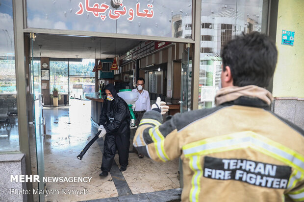 Bus terminal, residential sites in east Tehran disinfected