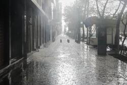 بارش شدید باران و تگرگ در تبریز