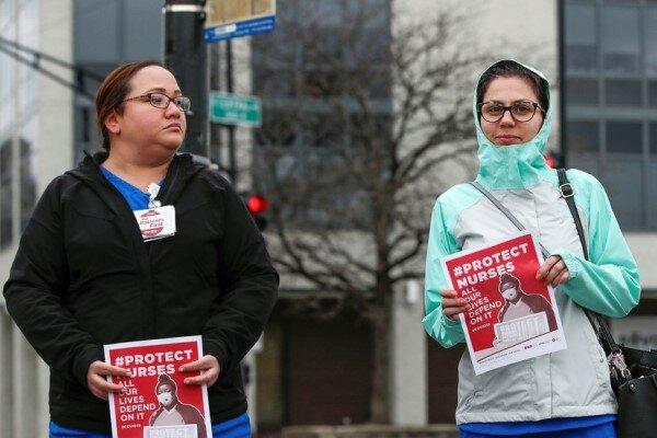 اعتراض پرستاران آمریکا به کمبود تجهیزات حفاظتی در مقابله با کرونا
