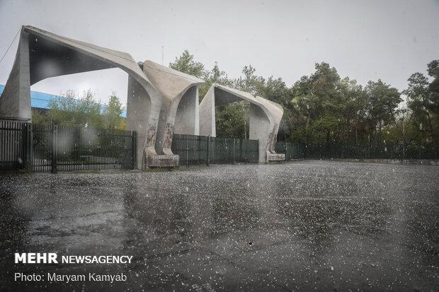 بارش تگرگ در تهران