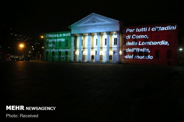 3D video-mapping images shown in various countries themed 'COVID-19'