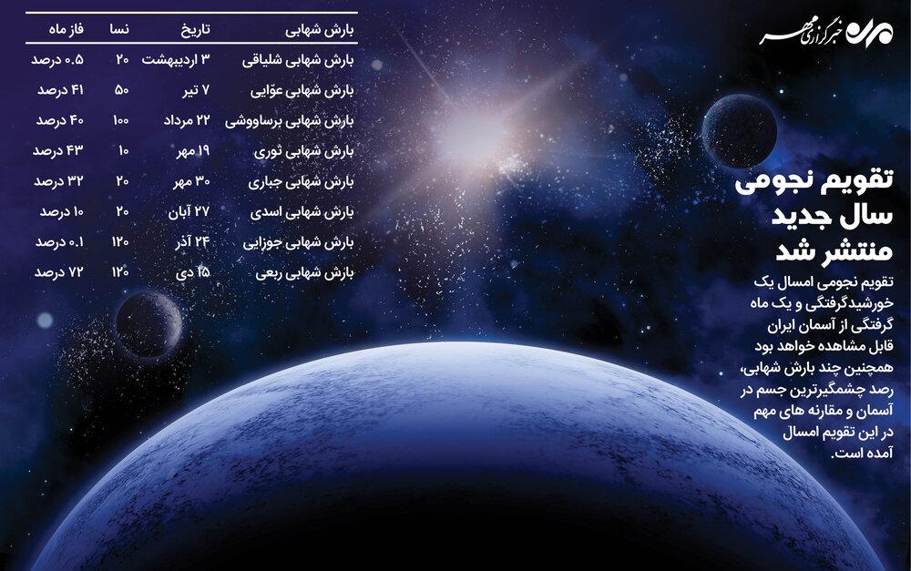 تقویم نجومی سال جدید منتشر شد