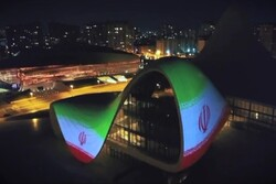 VIDEO: Iran's flag projected on Baku's iconic building as sign of solidarity