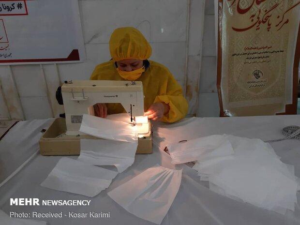 تولید ماسکهای بهداشتی در حرم حضرت علی بن مهزیار اهوازی