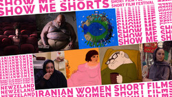 A poster for a review program for movies by Iranian woman filmmakers organized by the Show Me Shorts Film Festival in Auckland, New Zealand.