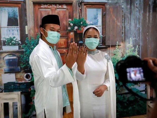 انڈونیشیا میں شادی کی انوکھی تقریب/ مہمانوں کی آن لائن شرکت