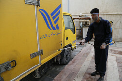 Disinfecting postal parcels in Bandar Abbas
