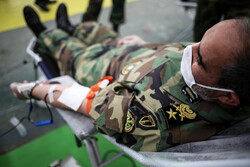 Staff of Army Ground Force donating blood