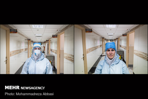 Masked faces of Iranian medical staff in fight against Covid-19