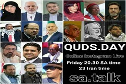 View Intl. Quds Day's rally online via Instagram program, other social platforms in English from S. Africa