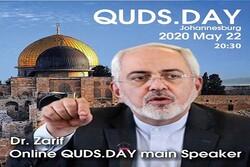 Zarif main online speaker of intl. Quds Day on May 22