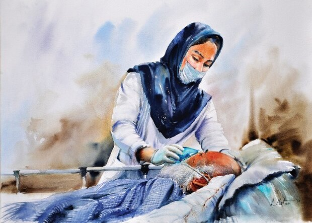 نقاشی کرونا پرستار
