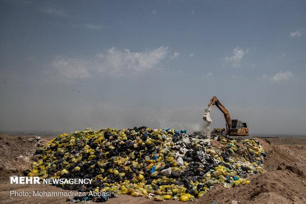 دفن زباله های کرونایی تهران