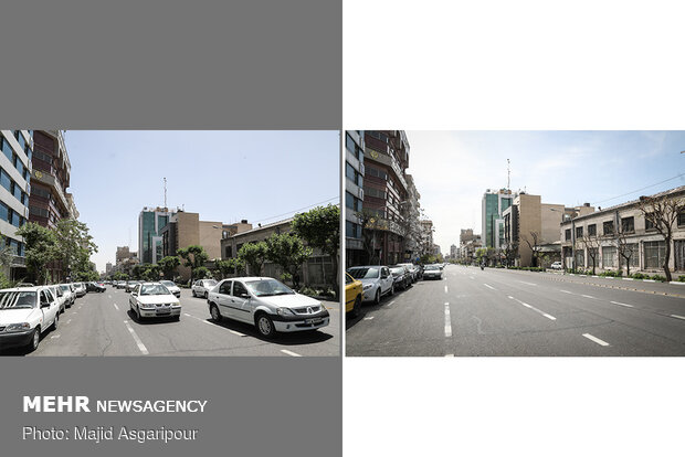 Tehran; 50 days earlier and now