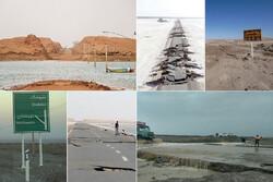 جاده کویری که ۱۳ ماه زیر آب است/ رفتوآمد سیل روی محور شهداد - نهبندان