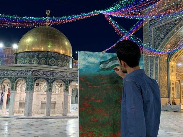 خلق اثر هنرمند استان بوشهر در کارگاه خلق آثار هنری «بر آستان قدس»